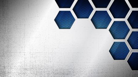 グランジオーバーレイメタリックテクスチャと青い光の背景上の六角形のグリッドパターンを持つ抽象的なステンレス鋼の金属パネルのベクトルイ