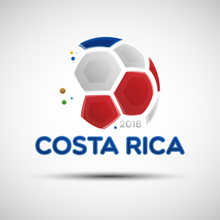 Football championship banner. Flag of Costa Rica. Vector illustration of abstract soccer ball with Costa Rican national flag colors for your design Illustration