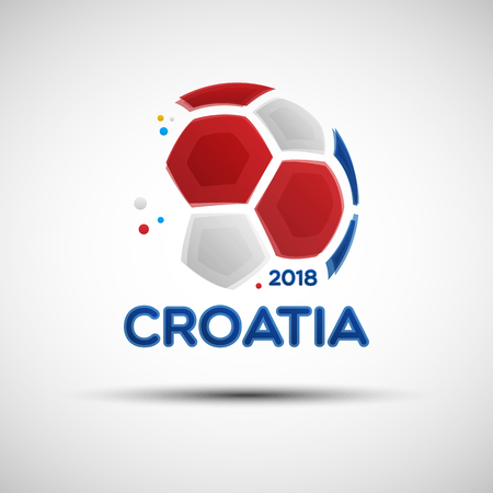 Football championship banner. Flag of Croatia. Vector illustration of abstract soccer ball with Croatian national flag colors for your design Illustration