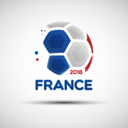 Football championship banner. Flag of France. Vector illustration of abstract soccer ball with French national flag colors for your design