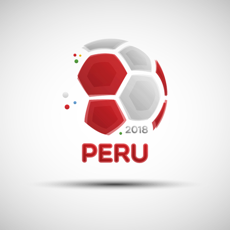 Football championship banner. Flag of Peru. Vector illustration of abstract soccer ball with Peruvian national flag colors for your design