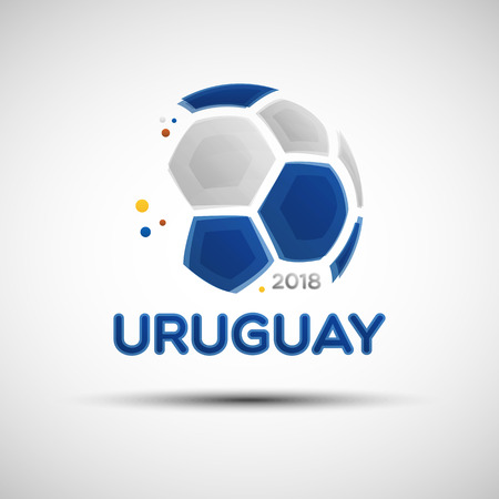 Football championship banner. Flag of Uruguay. Vector illustration of abstract soccer ball with Uruguayan national flag colors for your design Ilustração