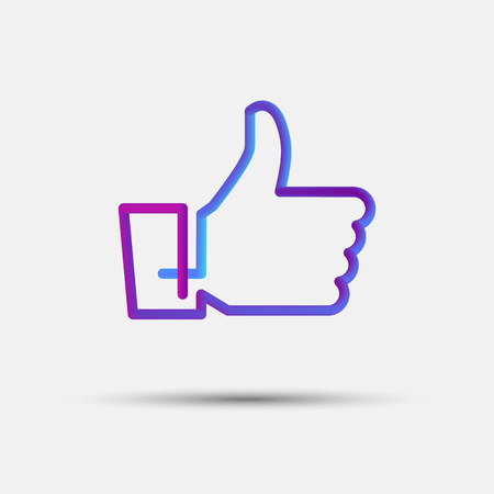 Hand like, thumb up, vote blended interlaced creative line icon. Trendy vector liquid 3d like icon, sign or emblem over white background for your graphic and web design