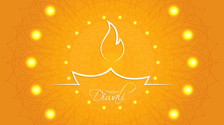 Indian diya oil lamp. The festival of lights. Happy Diwali abstract background with decorative pattern of ethnic round ornament for your greeting card design