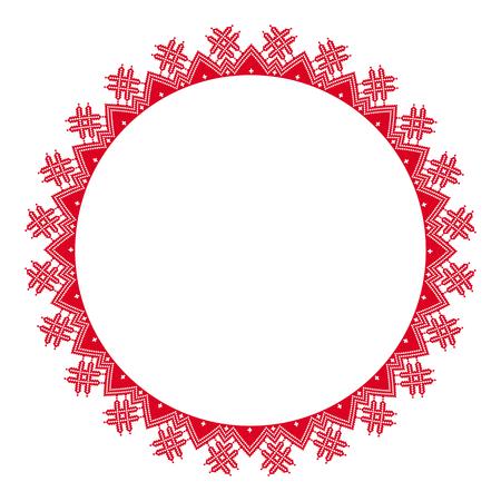 Bordado redondo tradicional. Ilustración de vector de patrón bordado geométrico redondo étnico para su diseño Ilustración de vector