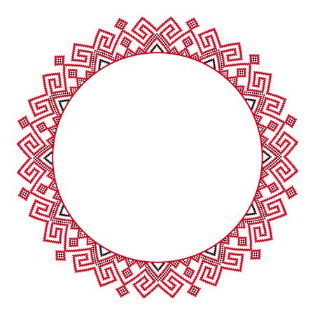 Broderie ronde traditionnelle. Illustration vectorielle de motif brodé géométrique rond ethnique pour votre conception