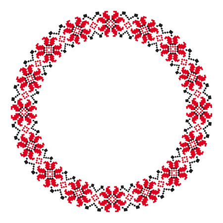Bordado redondo tradicional. Ilustración de vector de patrón bordado geométrico redondo étnico para su diseño