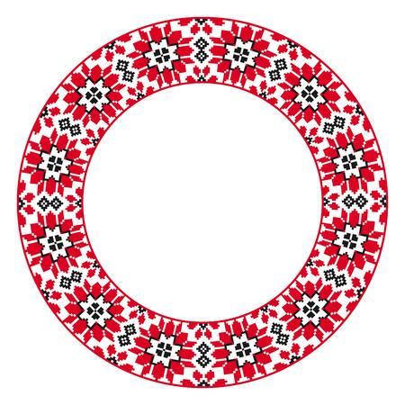 Broderie ronde traditionnelle. Illustration vectorielle de motif brodé géométrique rond ethnique pour votre conception Vecteurs