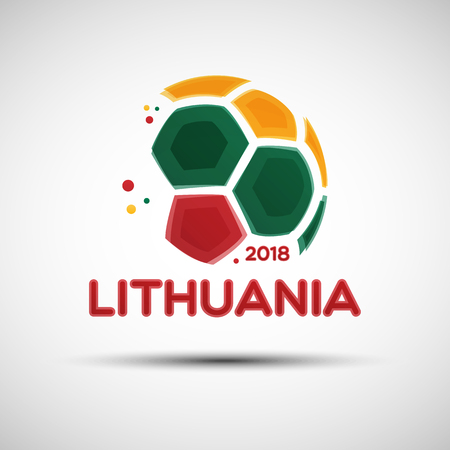 Football championship banner. Flag of Lithuania. Vector illustration of abstract soccer ball with Lithuanian national flag colors for your design