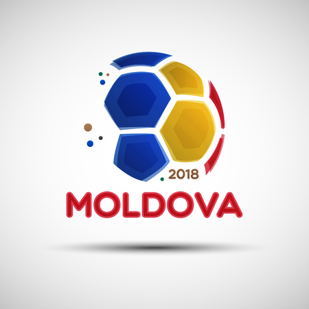 Football championship banner. Flag of Moldova. illustration of abstract soccer ball with Moldova national flag colors for your design