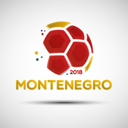 Football championship banner. Flag of Montenegro. illustration of abstract soccer ball with Montenegro national flag colors for your design