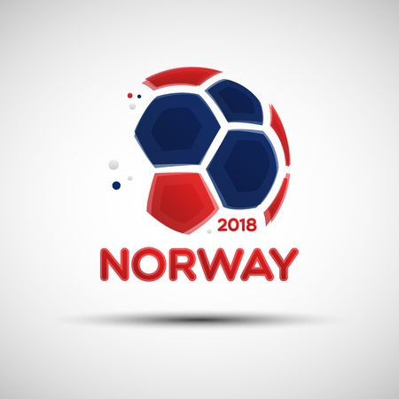 Football championship banner. Flag of Norway. Vector illustration of abstract soccer ball with Norwegian national flag colors for your design Illustration