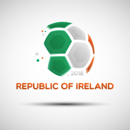 Football championship banner. Flag of Ireland. Vector illustration of abstract soccer ball with Republic of Ireland national flag colors for your design