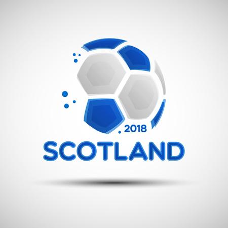 Banner der Fußballmeisterschaft. Flagge von Schottland. Vektorillustration des abstrakten Fußballs mit schottischen Nationalflaggenfarben für Ihren Entwurf Vektorgrafik
