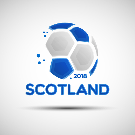 Football championship banner. Flag of Scotland. Vector illustration of abstract soccer ball with Scottish national flag colors for your design