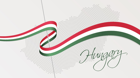 illustration of abstract radial dotted halftone map of Hungary and wavy ribbon with Hungarian national flag colors for your graphic and web design Ilustração