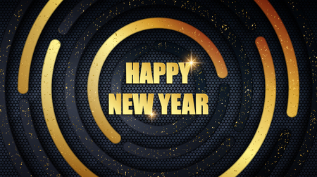 Happy New Year holiday metal banner. Abstract black and gold brushed metallic round panels with grunge golden dust overlay texture and hexagonal grid pattern over dark background for your design Ilustrace