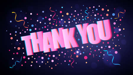 Thank you overlapping festive lettering with colorful round confetti over dark violet background for your graphic and web design Vectores