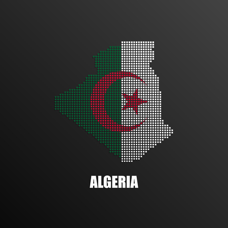 Vector illustration of abstract halftone map of Algeria made of square pixels with Algerian national flag colors for your graphic and web design Illustration