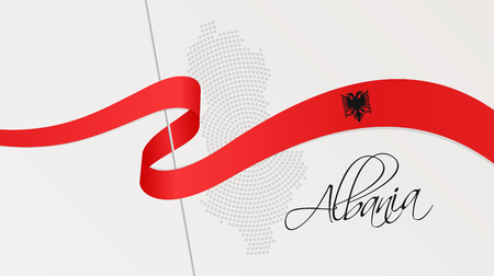 Vector illustration of abstract radial dotted halftone map of Albania and wavy ribbon with Albanian national flag colors for your graphic and web design