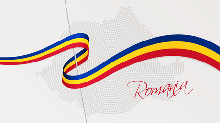 Vector illustration of abstract radial dotted halftone map of Romania and wavy ribbon with Romanian national flag colors for your graphic and web design Illusztráció