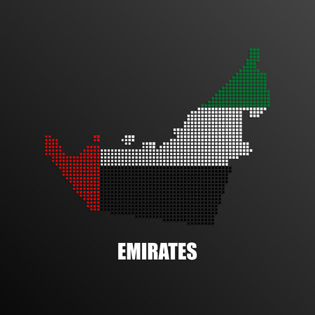 Vector illustration of abstract halftone map of United Arab Emirates made of square pixels with UAE national flag colors for your graphic and web design Ilustração
