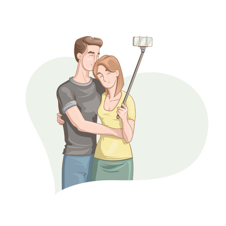 Happy Valentine's Day. Vector illustration of cartoon style beautiful loving couple smiling and making selfie for your design
