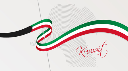 Vector illustration of abstract radial dotted halftone map of Kuwait and wavy ribbon with Kuwaiti national flag colors for your graphic and web design Vecteurs