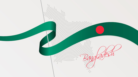 Vector illustration of abstract radial dotted halftone map of Bangladesh and wavy ribbon with Bangladeshi national flag colors for your graphic and web design Çizim