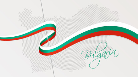 Vector illustration of abstract radial dotted halftone map of Bulgaria and wavy ribbon with Bulgarian national flag colors for your graphic and web design