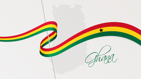 Vector illustration of abstract radial dotted halftone map of Ghana and wavy ribbon with Ghanaian national flag colors for your graphic and web design Illustration