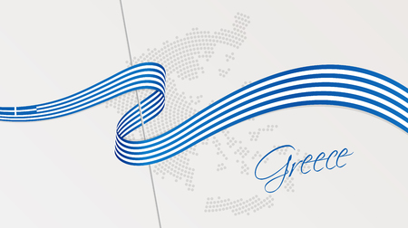 Vector illustration of abstract radial dotted halftone map of Greece and wavy ribbon with Greek national flag colors for your graphic and web design