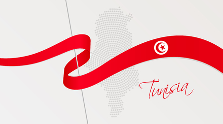 Vector illustration of abstract radial dotted halftone map of Tunisia and wavy ribbon with Tunisian national flag colors for your graphic and web design