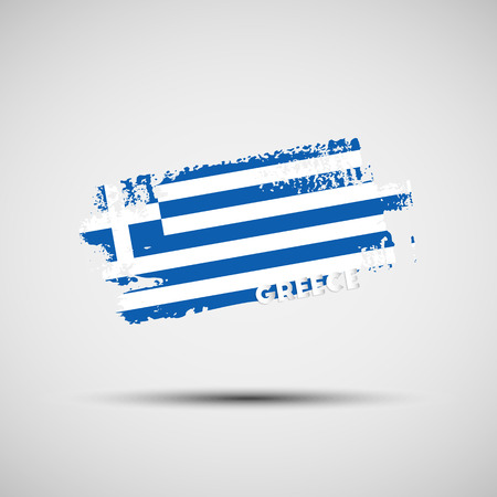 Flag of Greece. Vector illustration of grunge brush stroke with Greek national flag colors for your graphic and web design