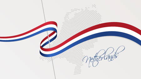 Vector illustration of abstract radial dotted halftone map of the Netherlands and wavy ribbon with national flag colors for your design