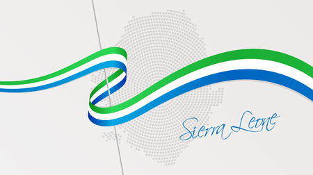 Vector illustration of abstract radial dotted halftone map of Sierra Leone and wavy ribbon with national flag colors for your design Çizim