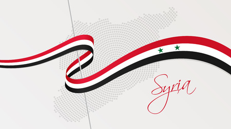 Vector illustration of abstract radial dotted halftone map of Syria and wavy ribbon with Syrian national flag colors for your design