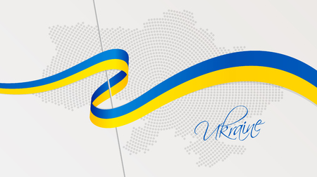 Vector illustration of abstract radial dotted halftone map of Ukraine and wavy ribbon with Ukrainian national flag colors for your design