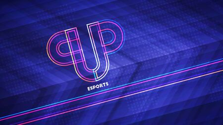 Esports championship light background. Vector illustration of abstract glowing neon colored sport cup and world map pattern over blue background Stock Illustratie