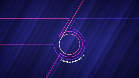 Everyday logo design. Vector illustration of abstract glowing neon colored lines forming number 365 over blue light background Illustration