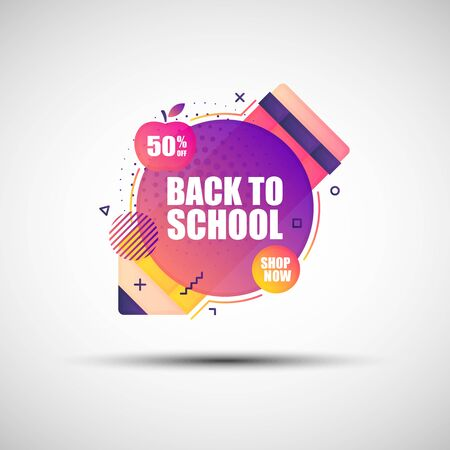 Modern geometric gradient sale banner. Vector illustration of abstract colorful Back to School sale banner with round dotted halftone pattern for your design Standard-Bild - 131769280