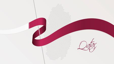 Vector illustration of abstract radial dotted halftone map of Qatar and wavy ribbon with Qatari national flag colors for your design