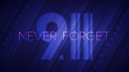 Never Forget September 11. Vector illustration of abstract Patriot day light background for your poster or banner design