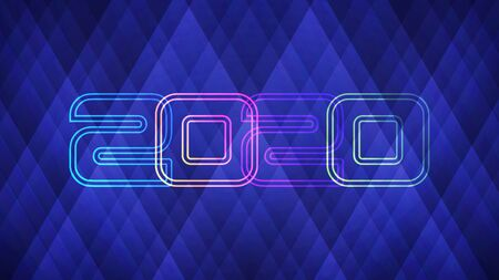 Happy New Year 2020 light background. Vector illustration of abstract glowing neon colored numbers over blue background for your design