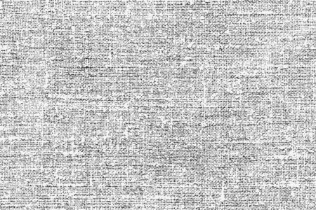 Old rough natural burlap grunge overlay texture. Vector illustration of black and white abstract grunge background for your design