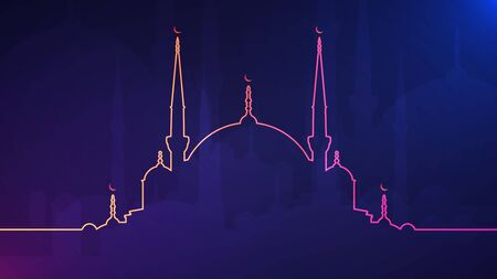Eid Mubarak background. Vector illustration of abstract light background with glowing neon colored mosque silhouette for holy month of muslim community Ramadan Kareem