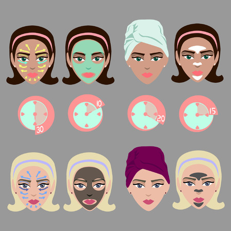 procedures: Cosmetical procedures for facial skin care. Timer, massaging lines, masks