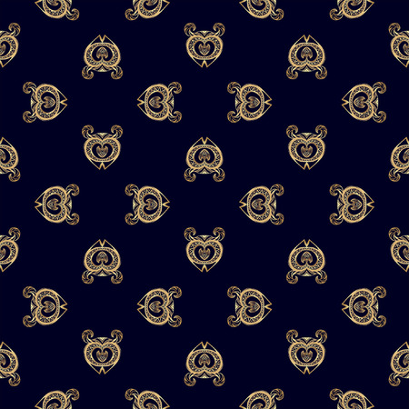 ancient civilization: Seamless pattern with ethnic motifs on dark blue background