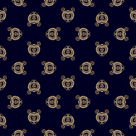civilization: Seamless pattern with ethnic motifs on dark blue background