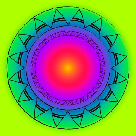 Round ethnic pattern with rainbow gradient african motives